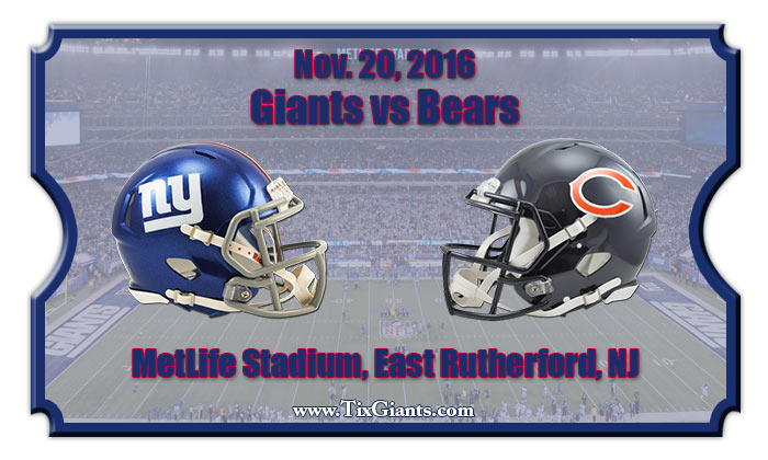 new york giants vs bears score search